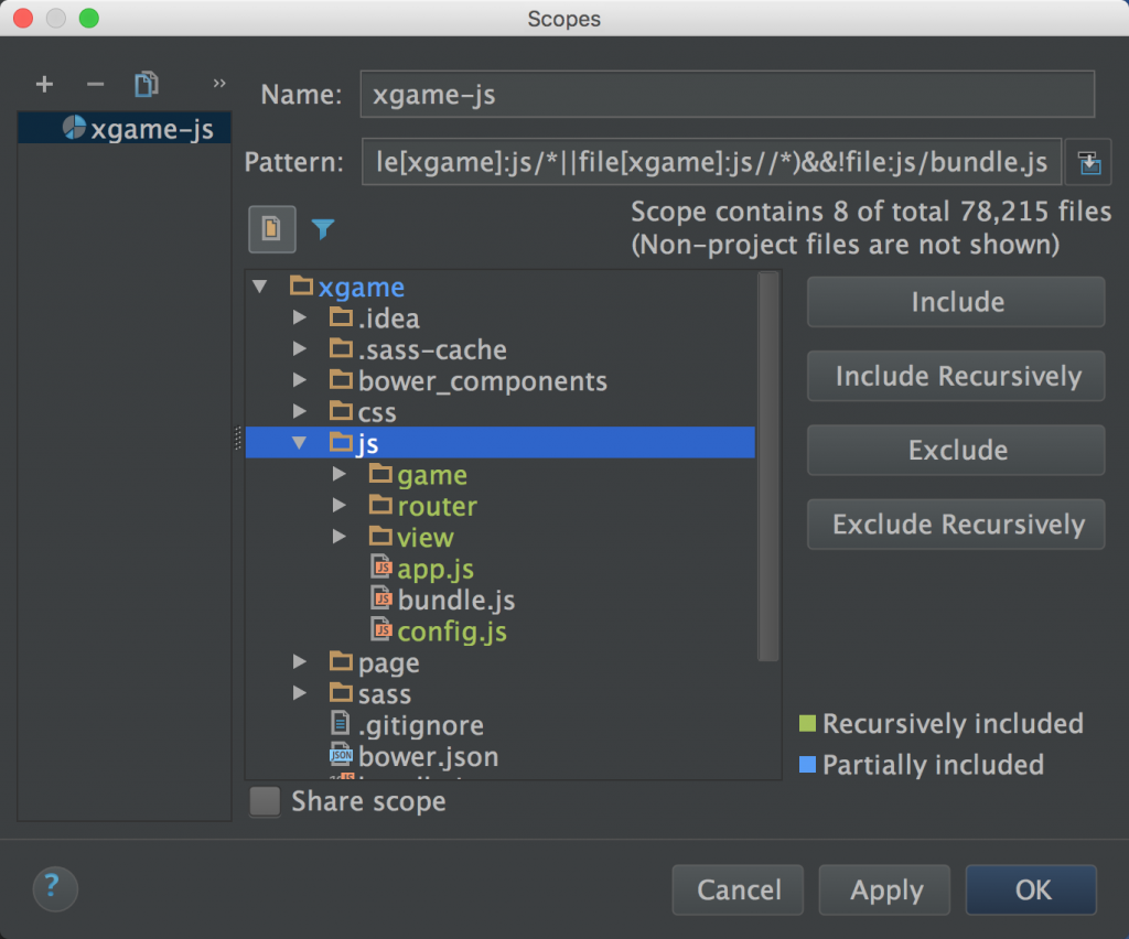WebStorm Scope
