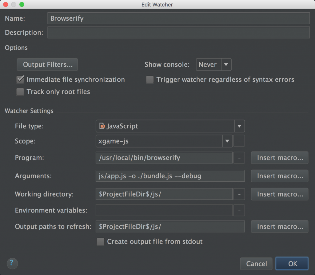WebStorm Browserify File Watcher